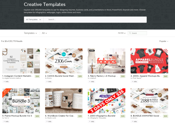 creative market templates