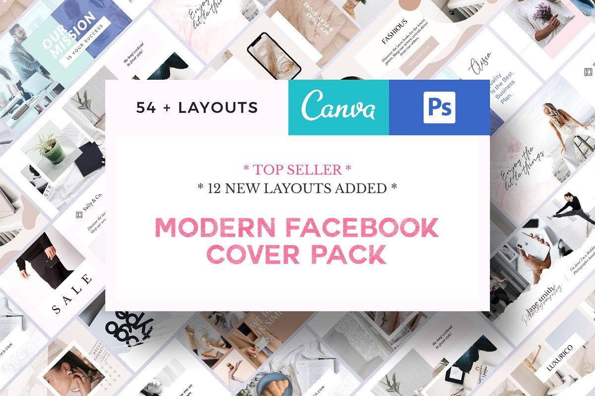 Modern Facebook Cover Pack - Canva