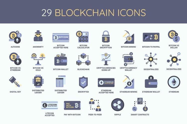 Bitcoin & Blockchain Icon Set