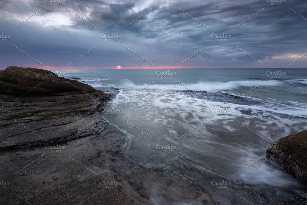 Seascape during sunrise.