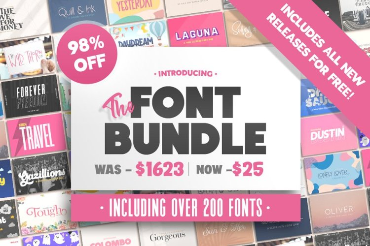 The HUGE Font Bundle (98% OFF)