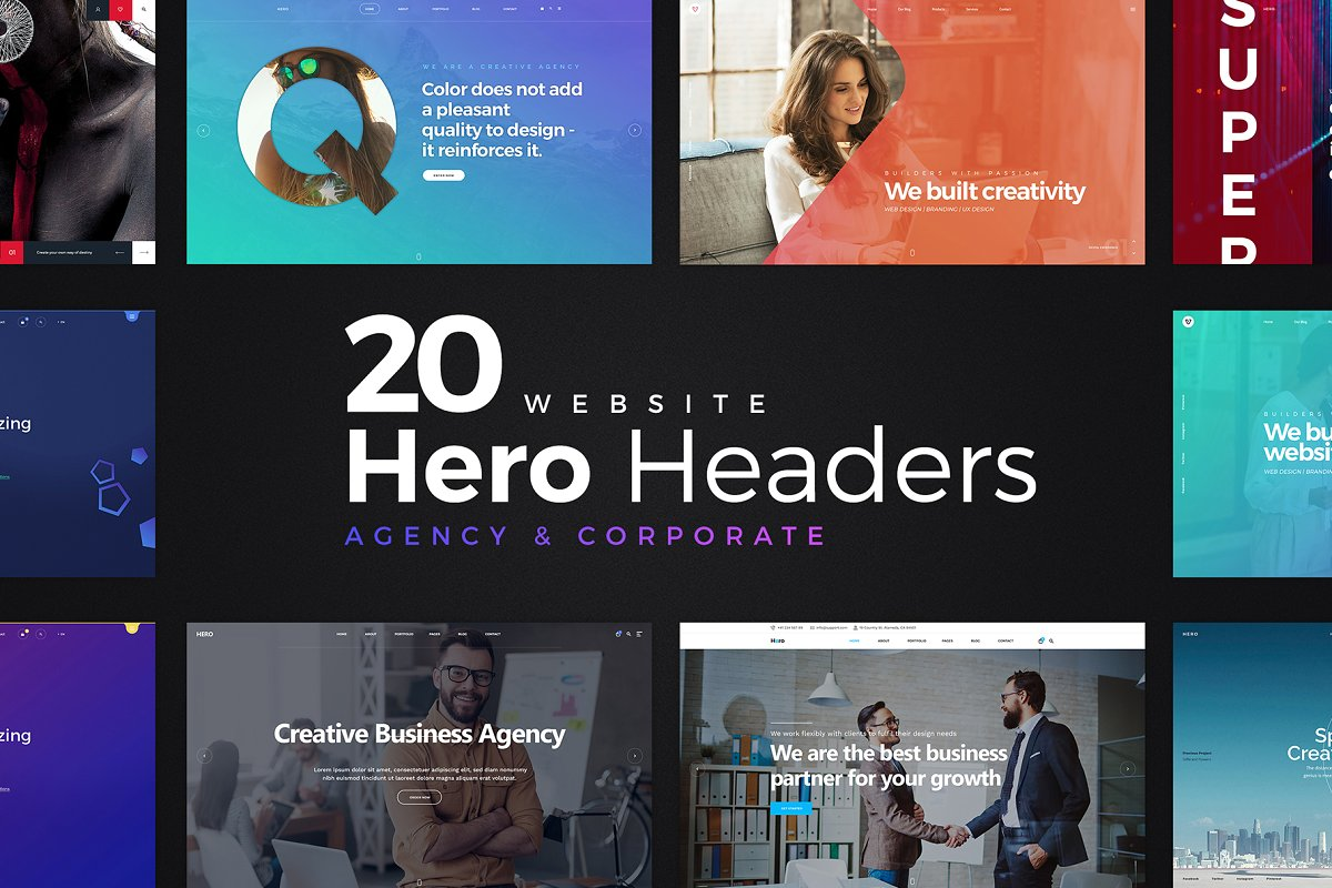 20 Website Hero Headers