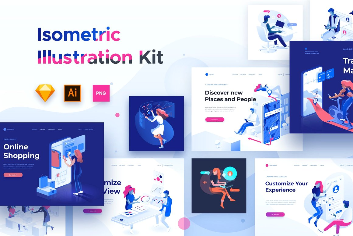 Isometric illustration kit - People