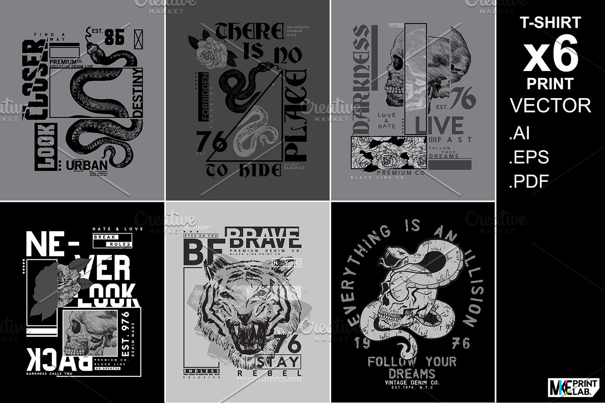 BLACK LINE TEE PRINT VECTOR PACK