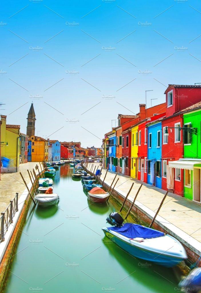 Burano island canal, Venice, Italy.