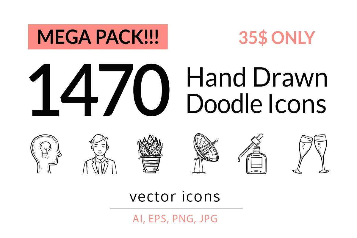 Hand drawn sketch vector icons