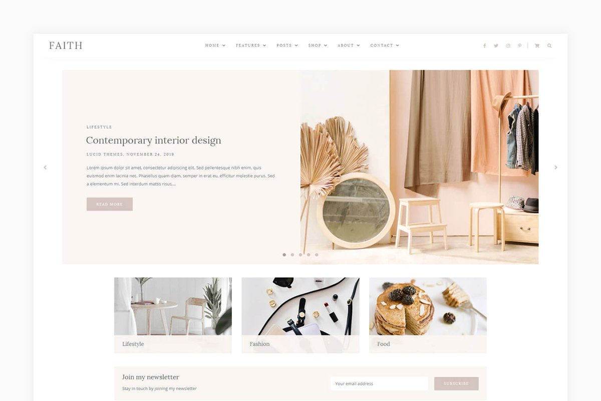 Faith - Blog & Shop WordPress Theme
