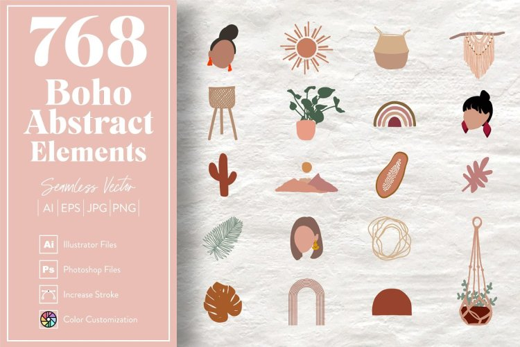 768 Boho Abstract Elements
