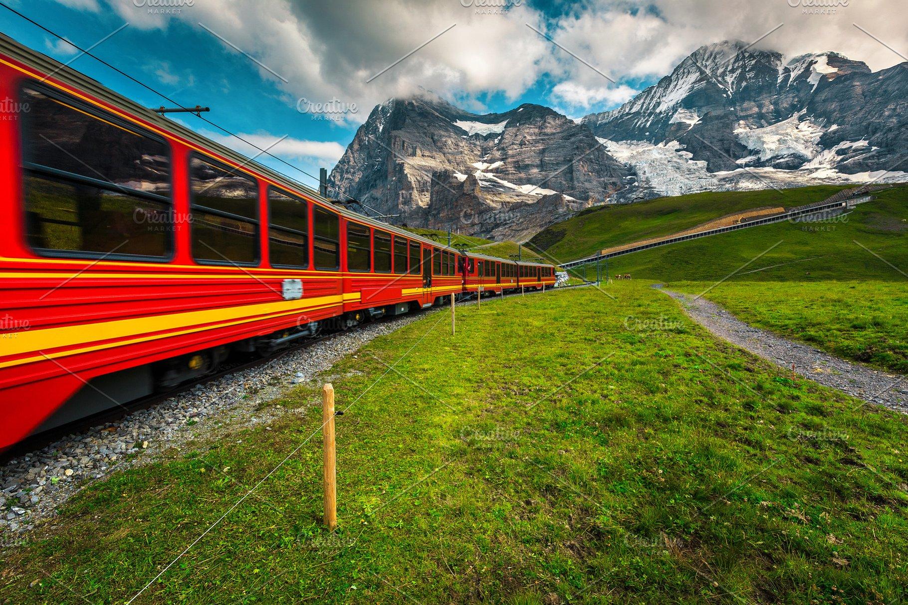 Red cogwheel tourist train